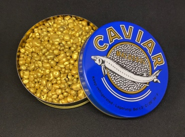 Peta Crispy (Knallbrause), Gold, in der Kaviardose